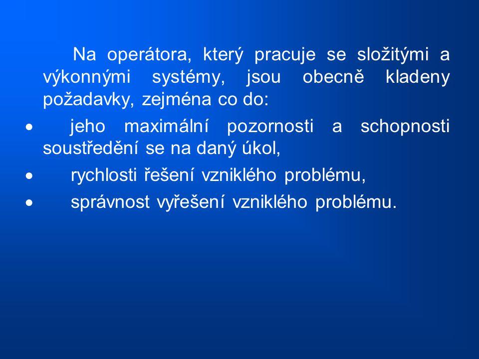 Na operátora, který pracuje se složitými a výkonnými systémy, jsou obecně kladeny požadavky, zejména co do: