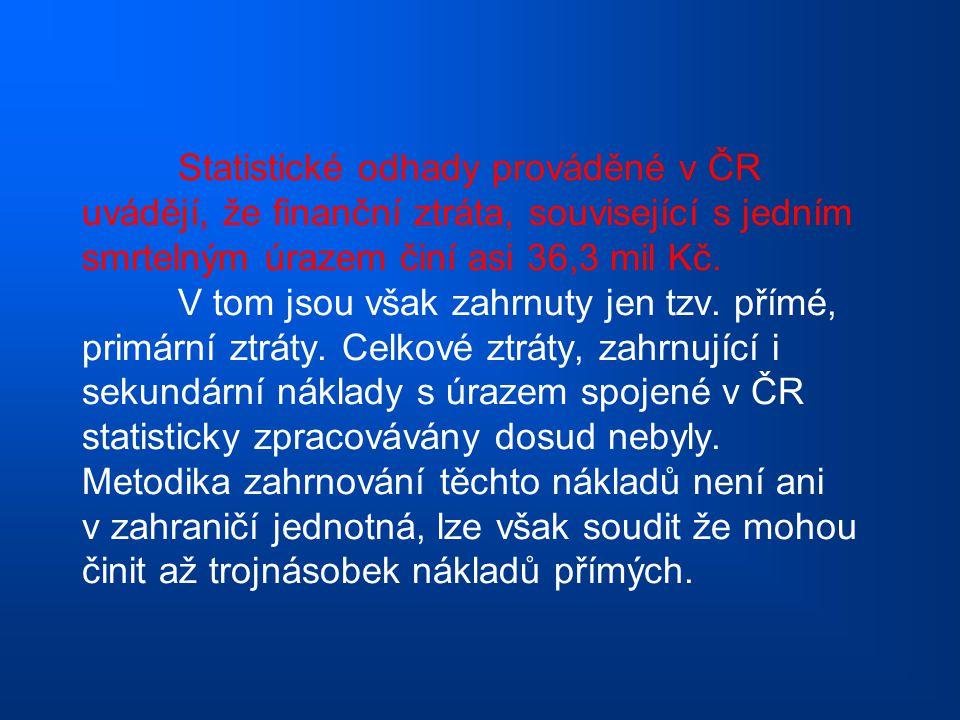 Statistické odhady prováděné v ČR uvádějí, že finanční ztráta, související s jedním smrtelným úrazem činí asi 36,3 mil Kč.