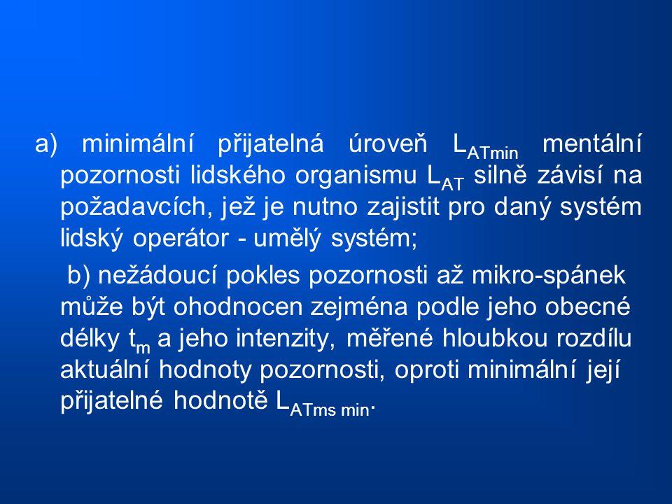 a) minimální přijatelná úroveň LATmin mentální pozornosti lidského organismu LAT silně závisí na požadavcích, jež je nutno zajistit pro daný systém lidský operátor - umělý systém;