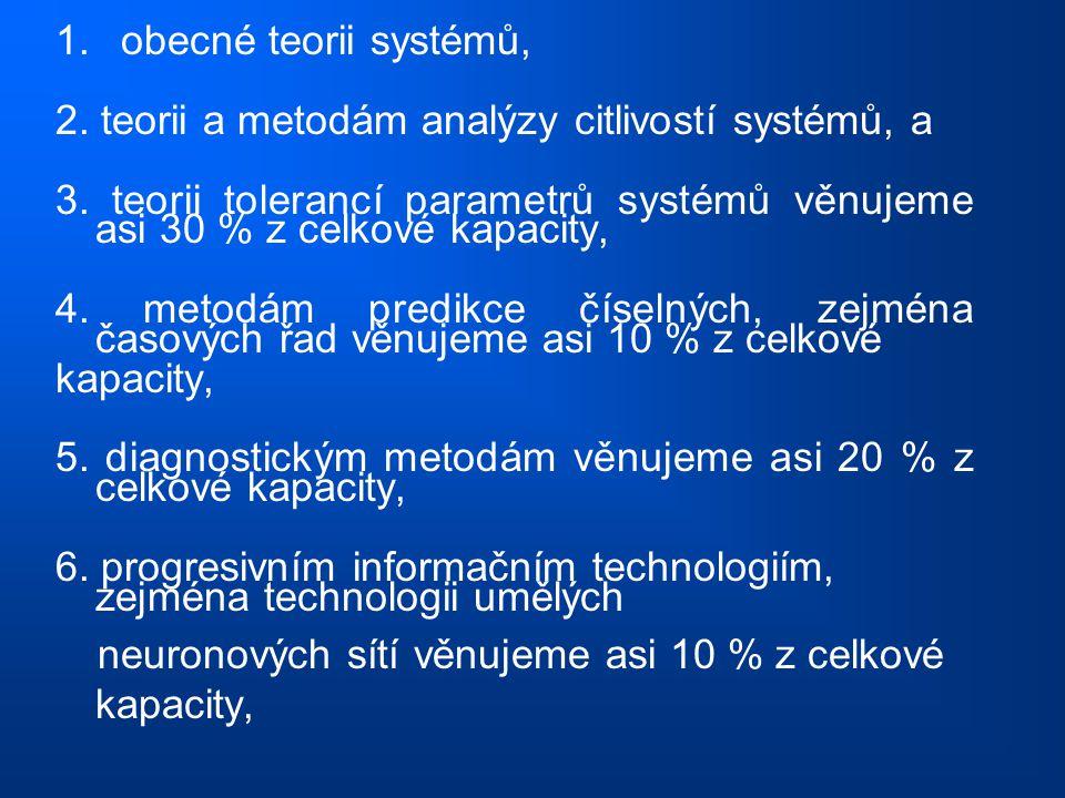 1. obecné teorii systémů, 2. teorii a metodám analýzy citlivostí systémů, a.