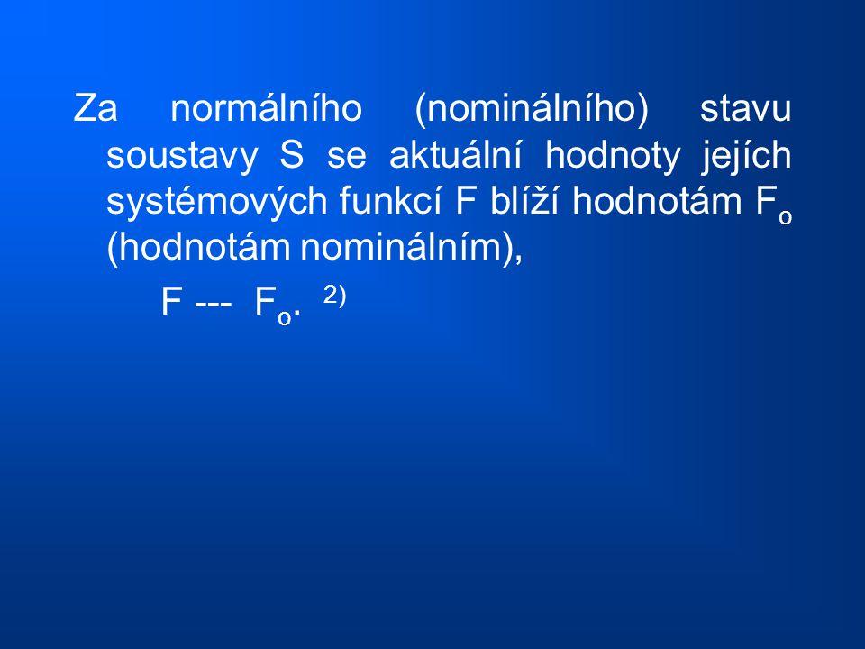 Za normálního (nominálního) stavu soustavy S se aktuální hodnoty jejích systémových funkcí F blíží hodnotám Fo (hodnotám nominálním),