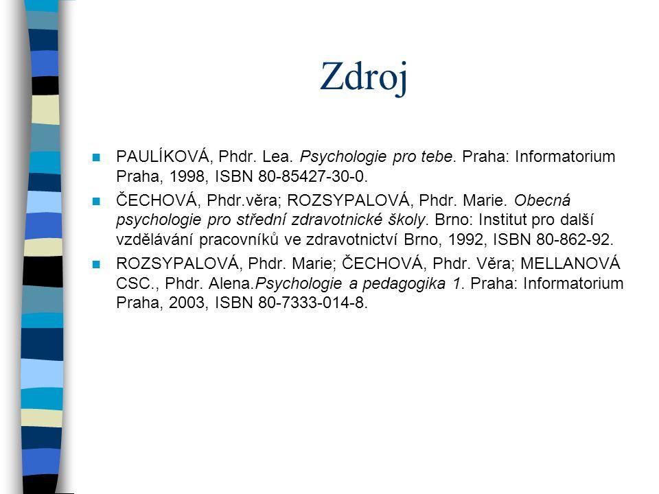 Zdroj PAULÍKOVÁ, Phdr. Lea. Psychologie pro tebe. Praha: Informatorium Praha, 1998, ISBN 80-85427-30-0.