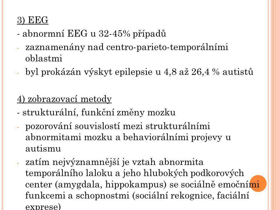 3) EEG - abnormní EEG u 32-45% případů. zaznamenány nad centro-parieto-temporálními oblastmi.