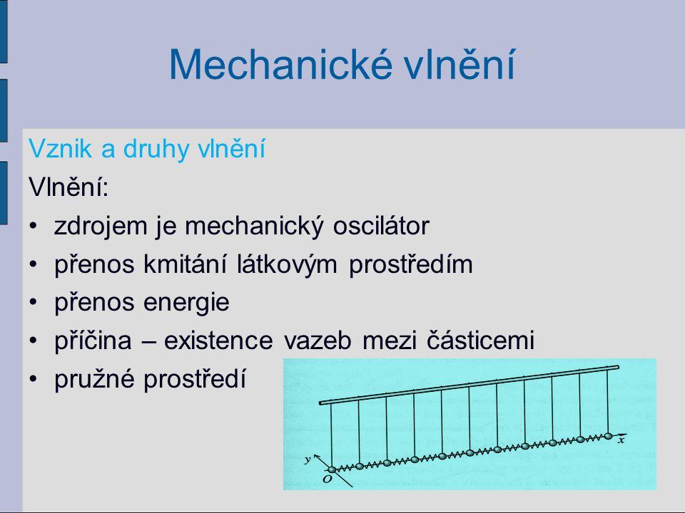 Mechanické vlnění Vznik a druhy vlnění Vlnění: