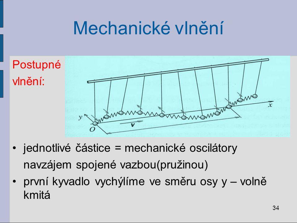 Mechanické vlnění Postupné vlnění: