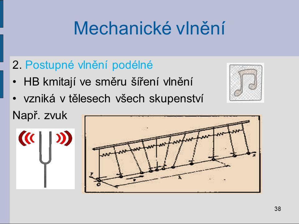 Mechanické vlnění 2. Postupné vlnění podélné