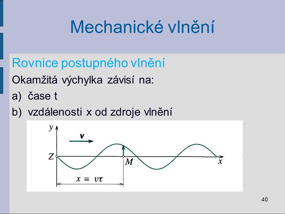 Mechanické vlnění Rovnice postupného vlnění