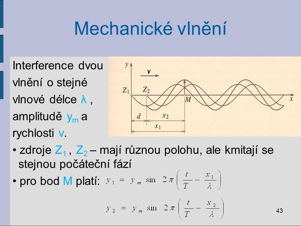 Mechanické vlnění Interference dvou vlnění o stejné vlnové délce λ ,