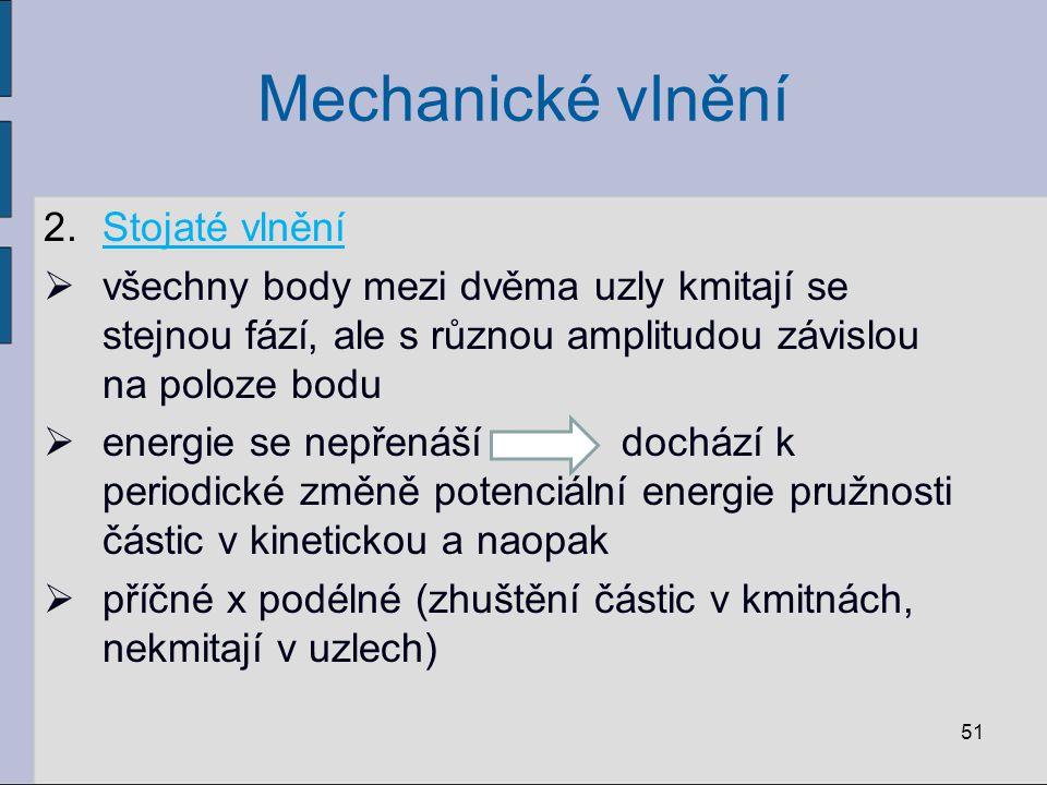 Mechanické vlnění Stojaté vlnění