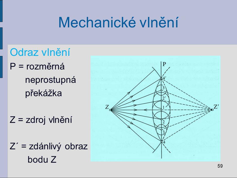 Mechanické vlnění Odraz vlnění P = rozměrná neprostupná překážka