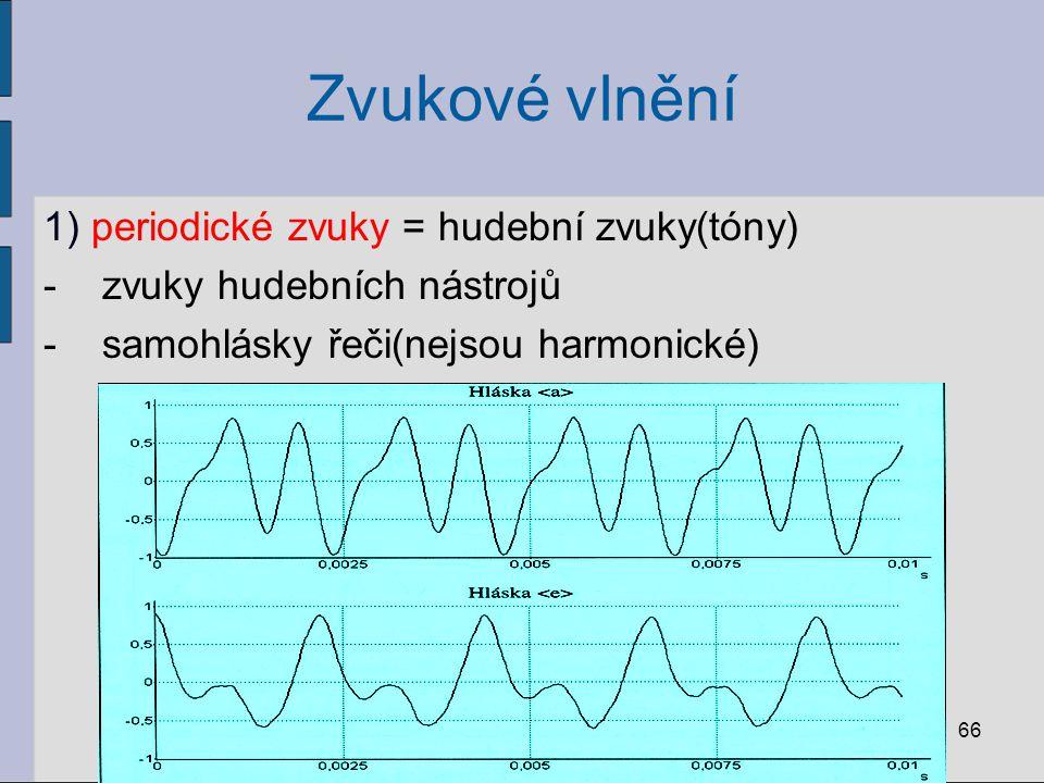Zvukové vlnění 1) periodické zvuky = hudební zvuky(tóny)