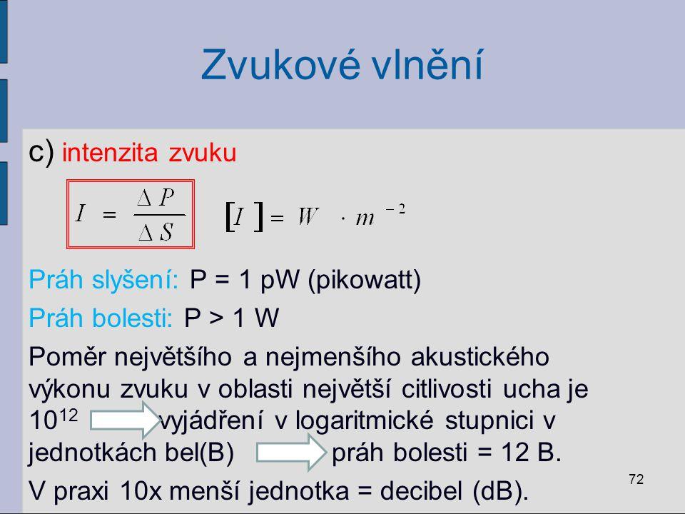Zvukové vlnění c) intenzita zvuku Práh slyšení: P = 1 pW (pikowatt)