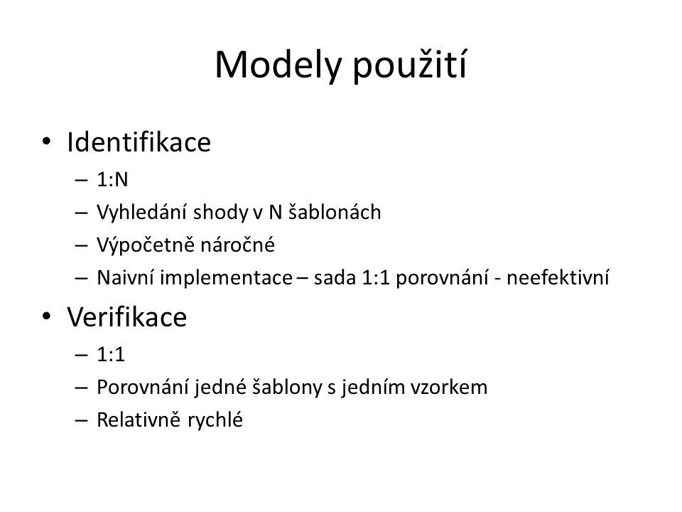 Modely použití Identifikace Verifikace 1:N