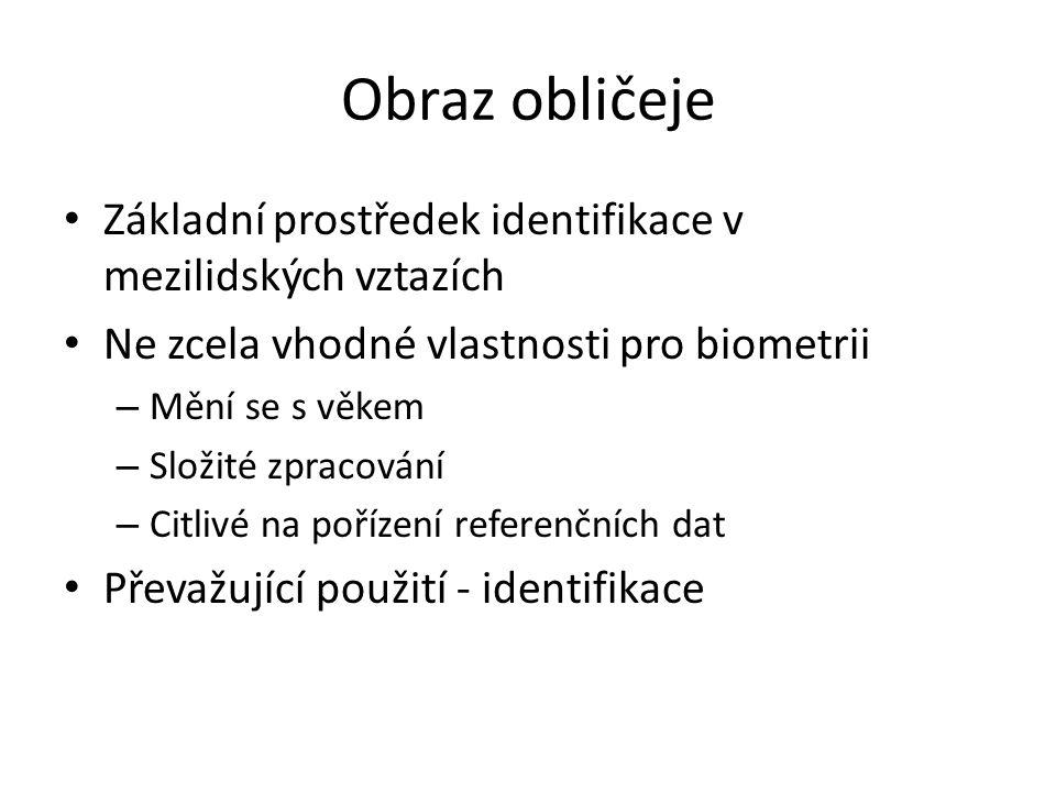 Obraz obličeje Základní prostředek identifikace v mezilidských vztazích. Ne zcela vhodné vlastnosti pro biometrii.