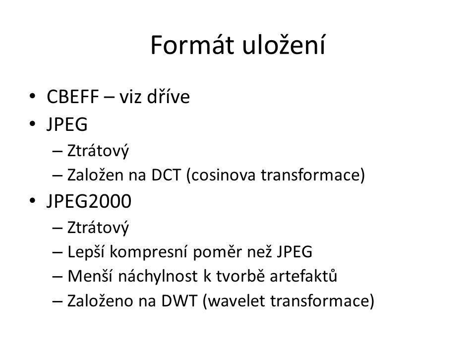 Formát uložení CBEFF – viz dříve JPEG JPEG2000 Ztrátový