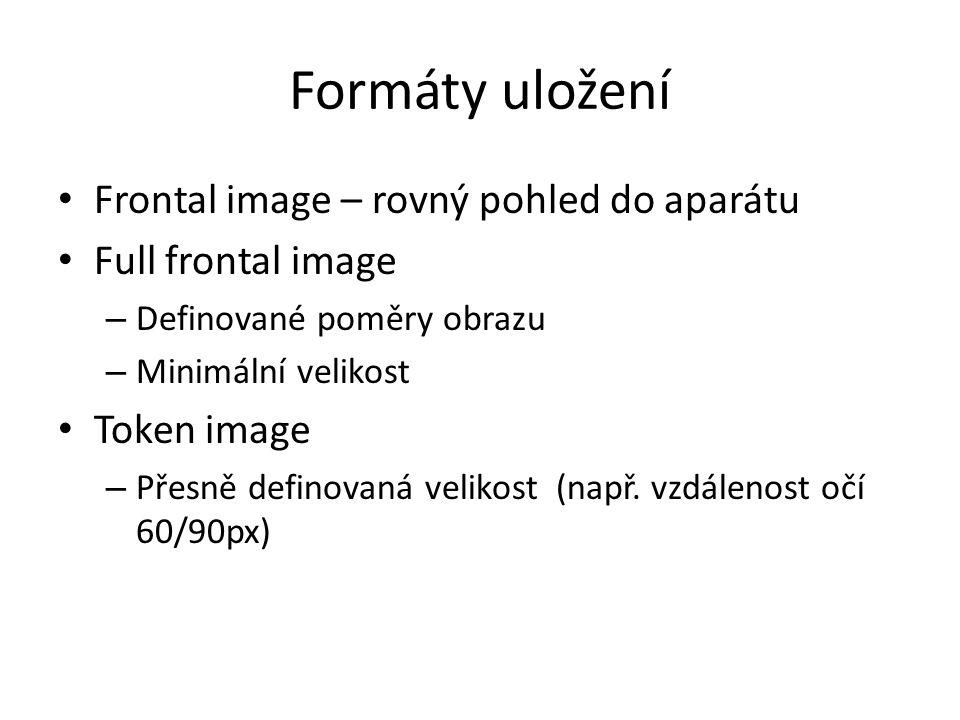 Formáty uložení Frontal image – rovný pohled do aparátu