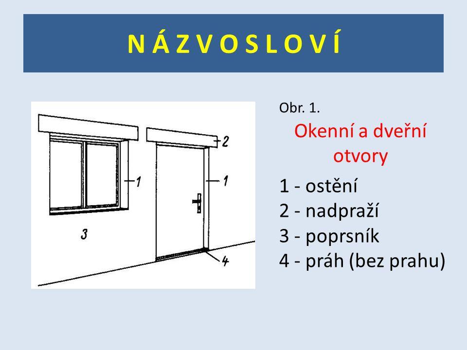 N Á Z V O S L O V Í Okenní a dveřní otvory 1 - ostění 2 - nadpraží