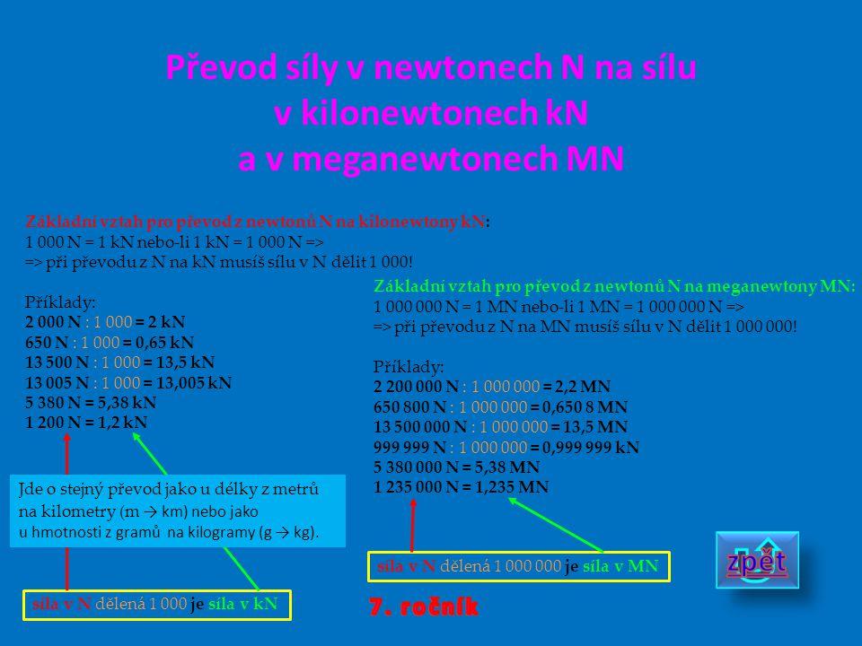 Převod síly v newtonech N na sílu v kilonewtonech kN a v meganewtonech MN