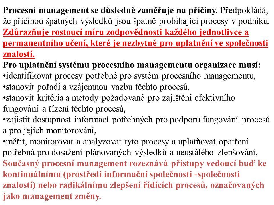 Procesní management se důsledně zaměřuje na příčiny