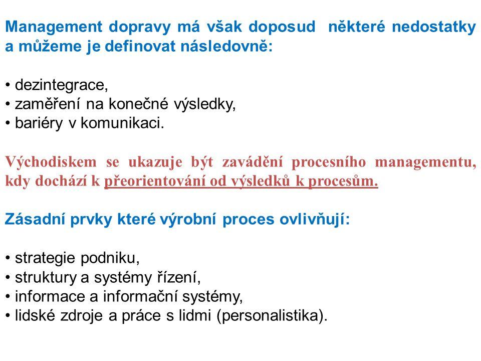 Management dopravy má však doposud některé nedostatky a můžeme je definovat následovně: