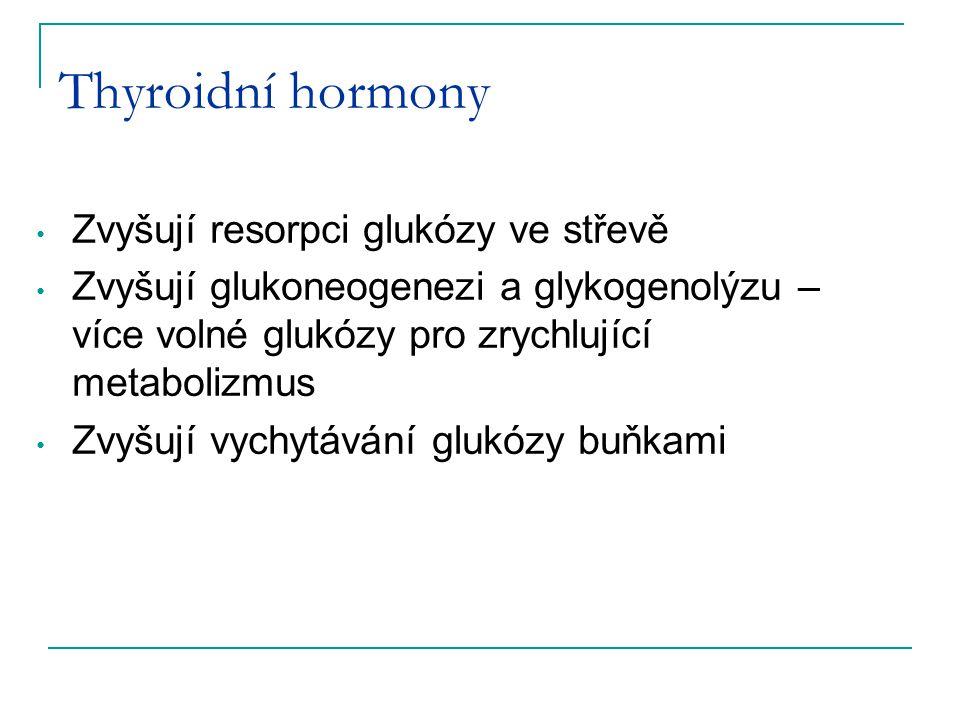 Thyroidní hormony Zvyšují resorpci glukózy ve střevě