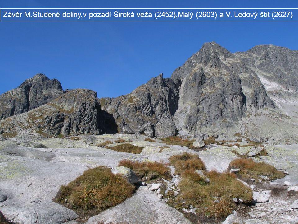 Závěr M. Studené doliny,v pozadí Široká veža (2452),Malý (2603) a V