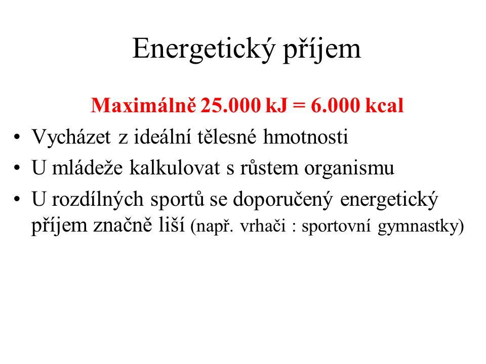 Energetický příjem Maximálně 25.000 kJ = 6.000 kcal