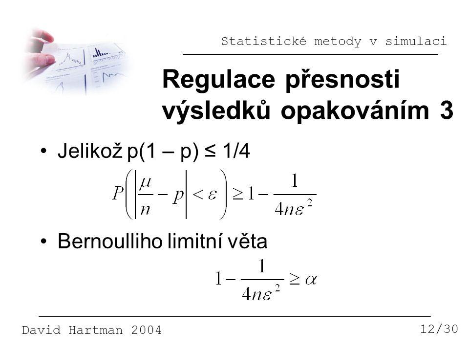 Regulace přesnosti výsledků opakováním 3 Jelikož p(1 – p) ≤ 1/4