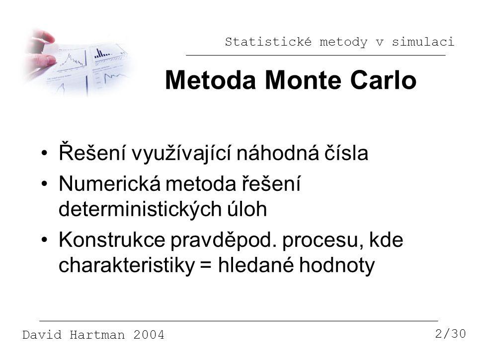 Metoda Monte Carlo Řešení využívající náhodná čísla