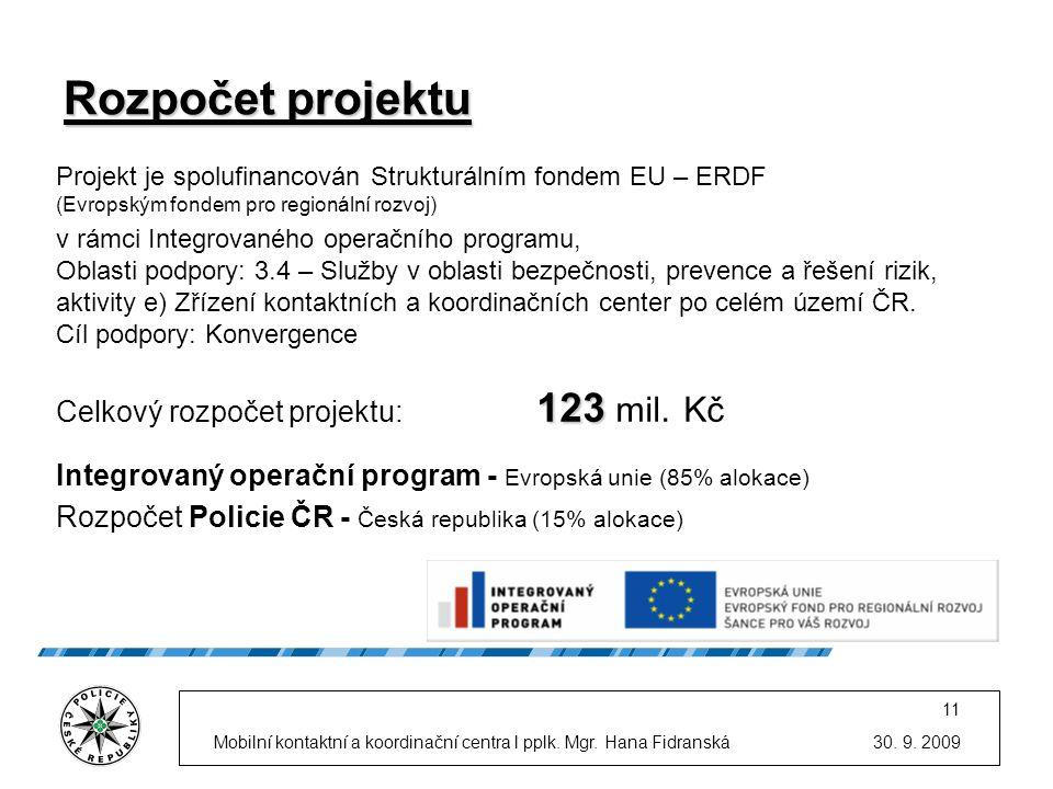 Rozpočet projektu Celkový rozpočet projektu: 123 mil. Kč