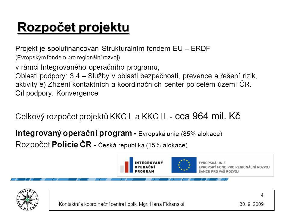 Rozpočet projektu Projekt je spolufinancován Strukturálním fondem EU – ERDF. (Evropským fondem pro regionální rozvoj)