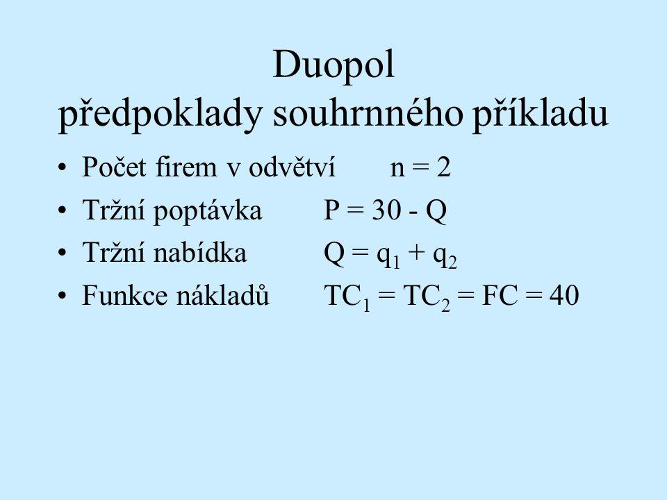 Duopol předpoklady souhrnného příkladu