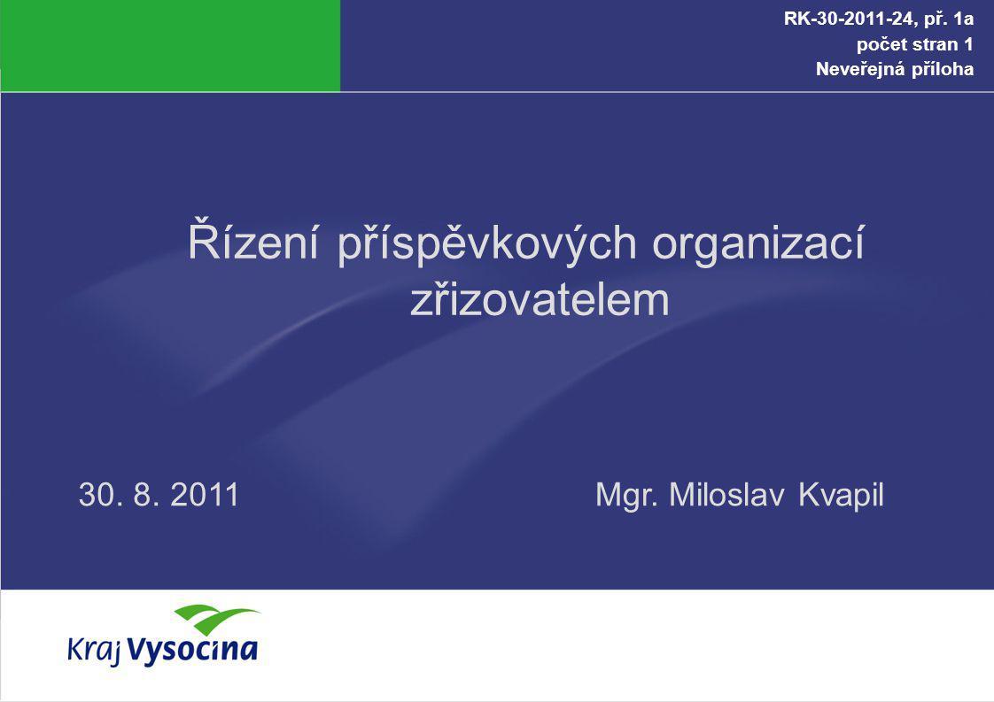 Řízení příspěvkových organizací zřizovatelem