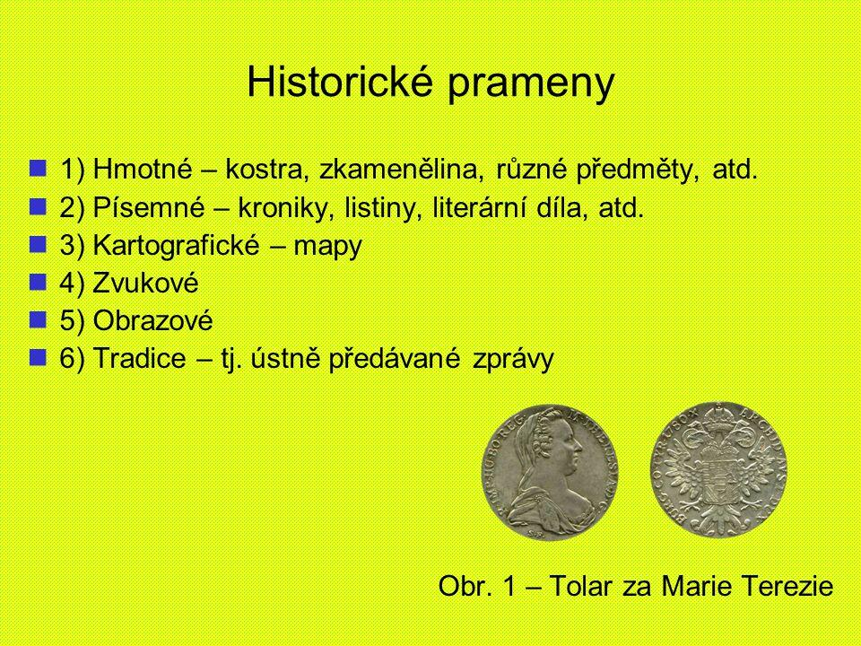 Historické prameny 1) Hmotné – kostra, zkamenělina, různé předměty, atd. 2) Písemné – kroniky, listiny, literární díla, atd.