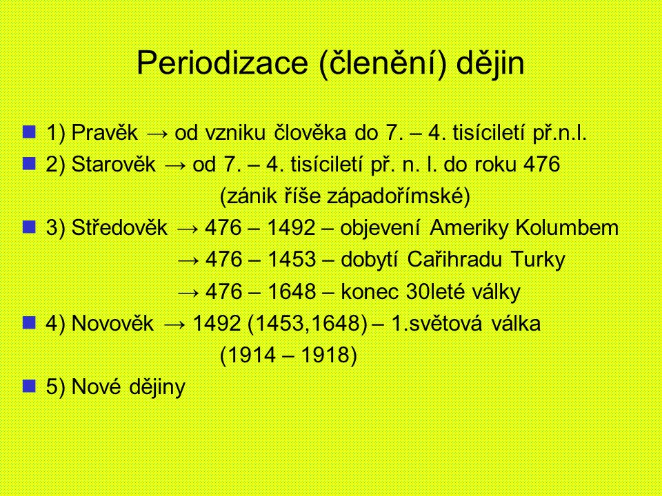 Periodizace (členění) dějin