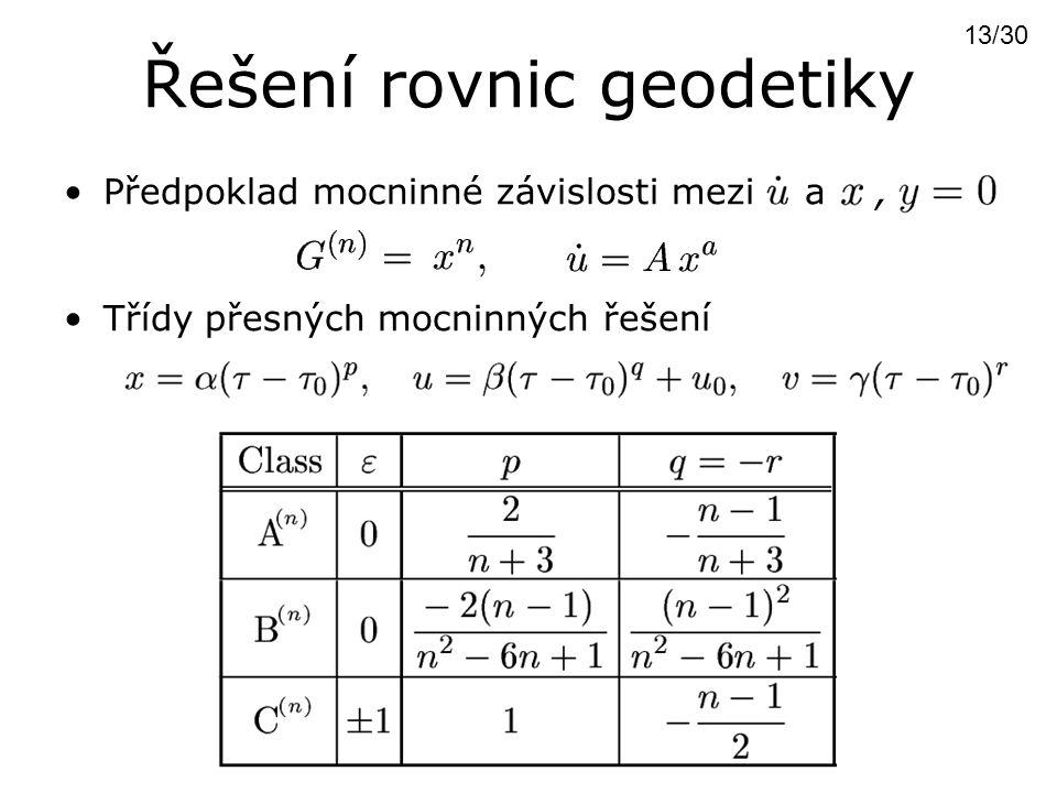 Řešení rovnic geodetiky