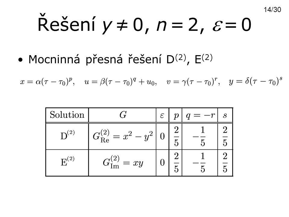 Řešení y ≠ 0, n = 2,  = 0 14/30 Mocninná přesná řešení D(2), E(2)