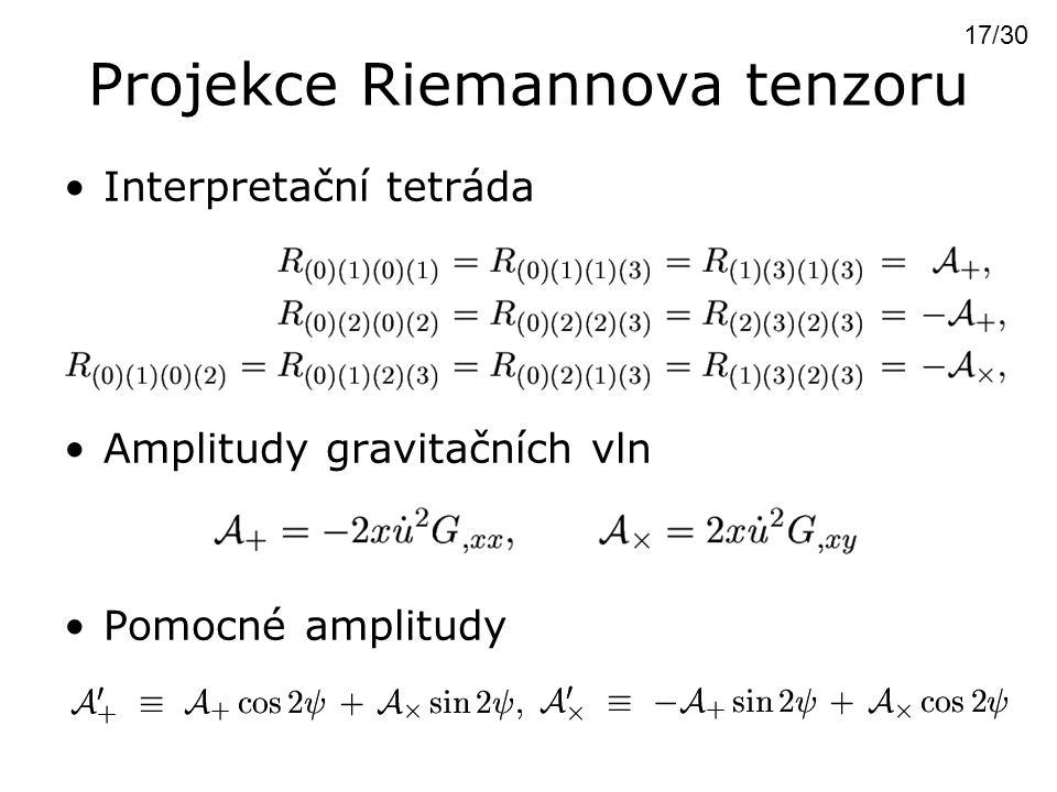 Projekce Riemannova tenzoru