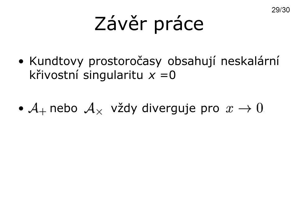 Závěr práce 29/30. Kundtovy prostoročasy obsahují neskalární křivostní singularitu x =0.