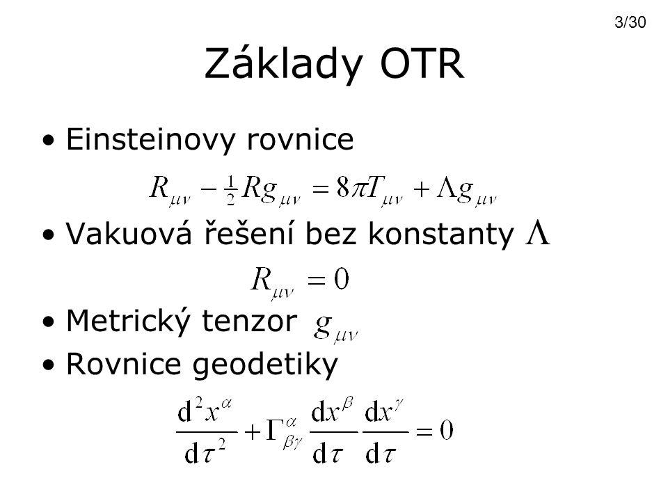 Základy OTR Einsteinovy rovnice Vakuová řešení bez konstanty 