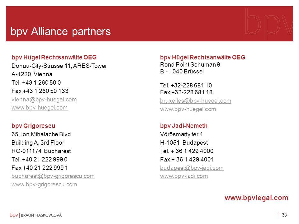 bpv Alliance partners www.bpvlegal.com bpv Hügel Rechtsanwälte OEG