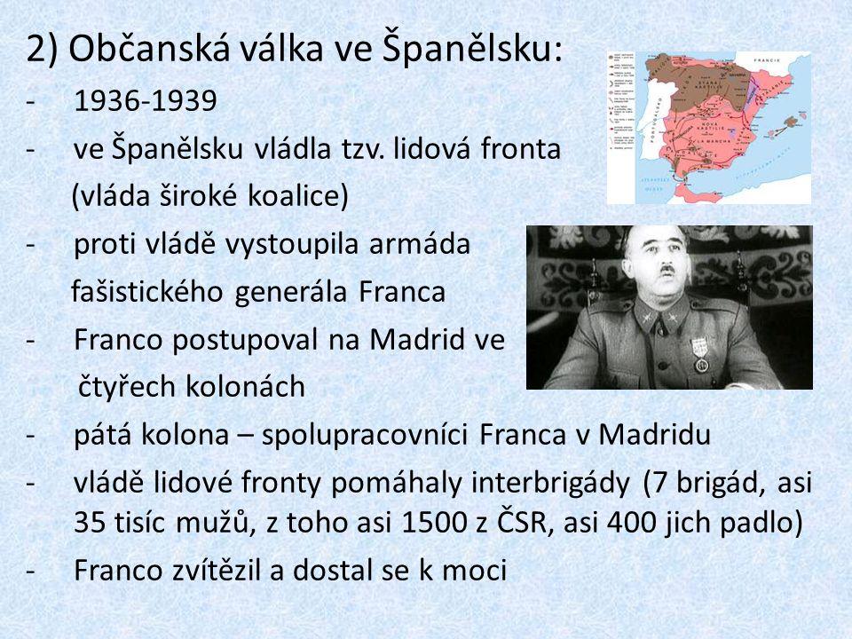 2) Občanská válka ve Španělsku: