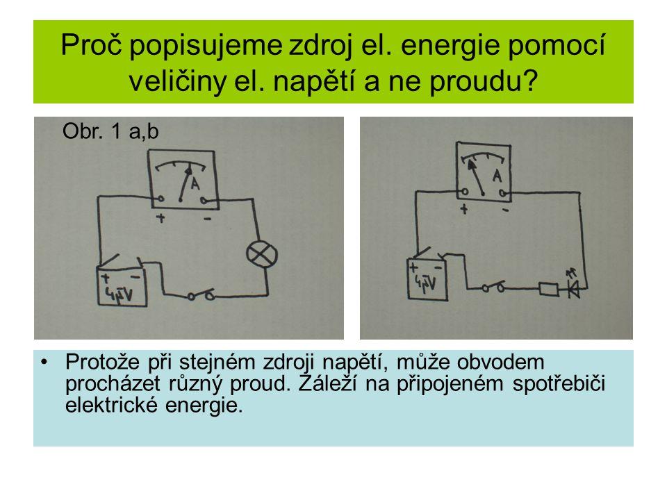 Proč popisujeme zdroj el. energie pomocí veličiny el