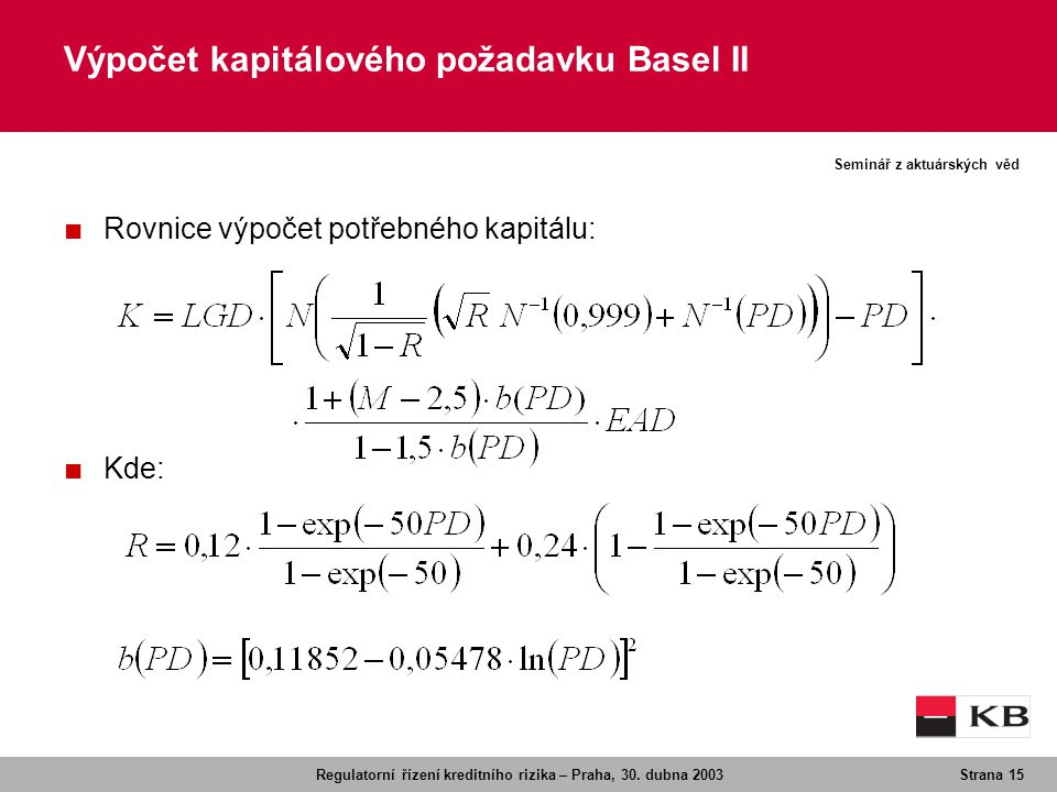 Výpočet kapitálového požadavku Basel II