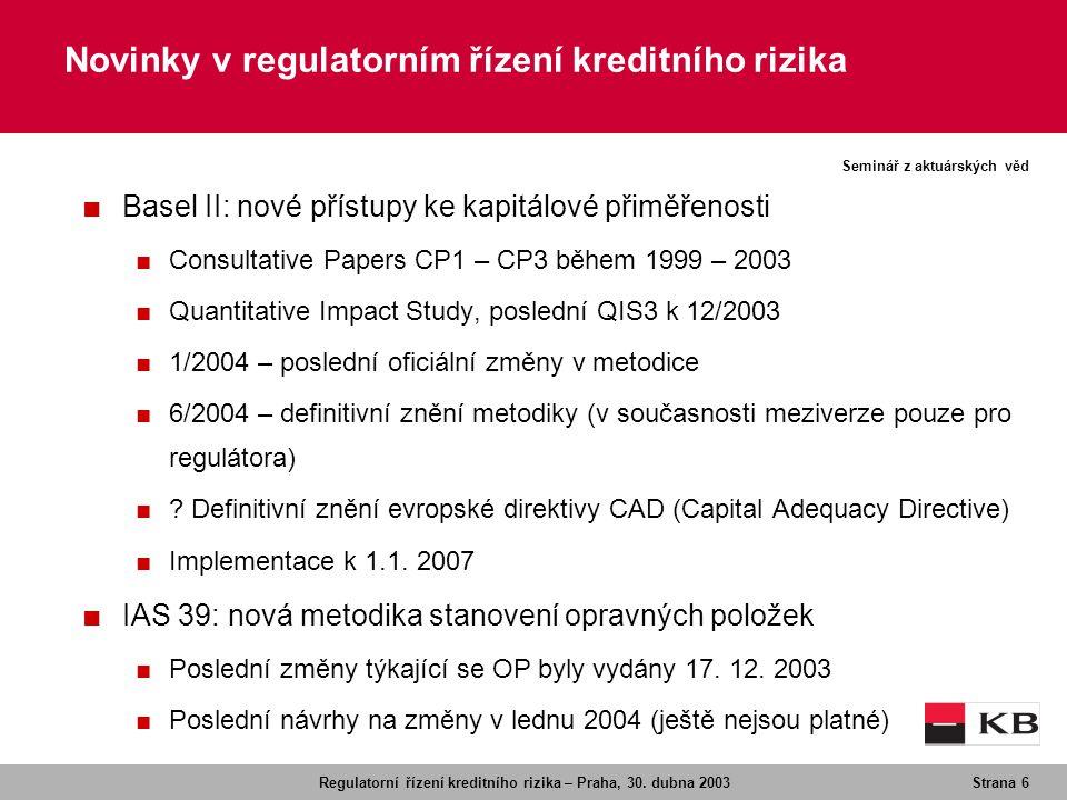 Novinky v regulatorním řízení kreditního rizika