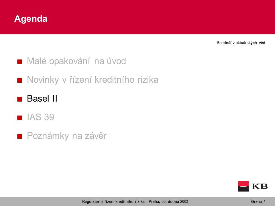 Agenda Malé opakování na úvod Novinky v řízení kreditního rizika Basel II IAS 39 Poznámky na závěr