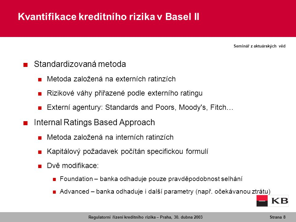 Kvantifikace kreditního rizika v Basel II