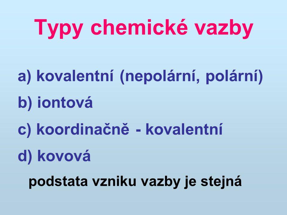 Typy chemické vazby a) kovalentní (nepolární, polární) b) iontová