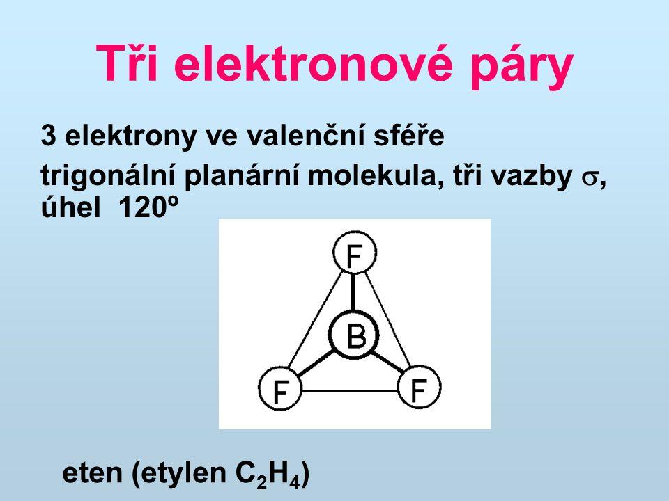 Tři elektronové páry 3 elektrony ve valenční sféře