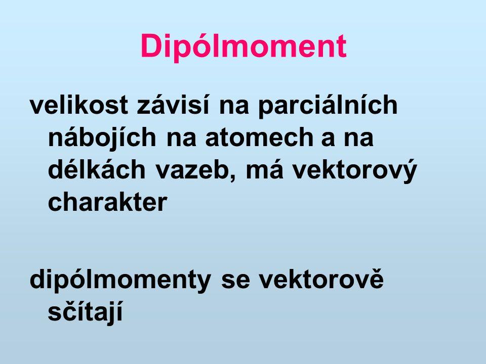 Dipólmoment velikost závisí na parciálních nábojích na atomech a na délkách vazeb, má vektorový charakter.